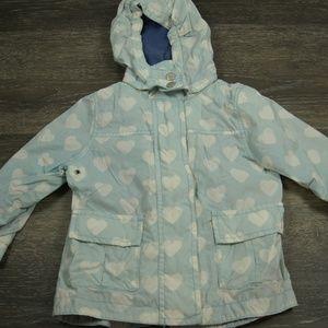 MINI BODEN Blue White Heart Hood Raincoat 2 3 GIrl